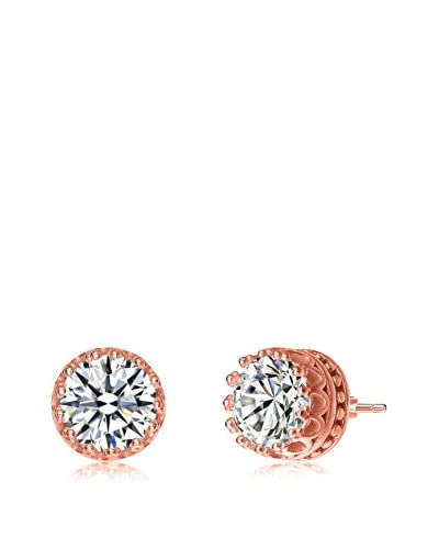 GENEVIVE Jewelry Platinum-Plated Sterling Silver CZ Round Stud Earrings