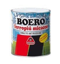 FERROPIU' MICACEO BOERO SMALTO ANTIRUGGINE X INTERNI ED ESTERNI APPLICABILE DIRETTAMENTE SULLA RUGGINE, ASPETTO ANTICO LT. 0,750 NERO GRAFITE GRANA GROSSA.