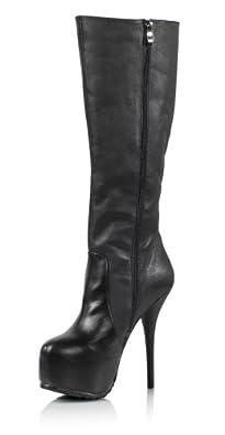 High-Heels-Stiefel: EROGANCE Rinder Glattleder / Echtleder Plateau High Heels Stiefel Kniestiefel schwarz / 3781B EU 37