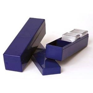 "Blue Plastic 2x2 9"" Coin Holder Box"