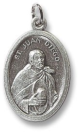 100 Piece Pack, Patron Saints Medals, St. Juan Diego/Our Lady of Guadalupe, Italian Oxidized Silver.