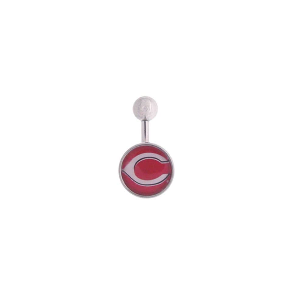 Cincinnati Reds 316L Stainless Steel Belly Ring   14G   3/8 Inch Bar Length   Sold Individually