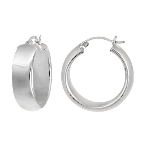 Sterling Silver Medium Wide Polished Click-Top Hoop Earrings