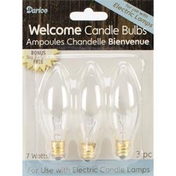 Darice Candle Lamp Collection Welcome Candle Bulbs 120V 7 Watt 3/Pkg 6201-10; 6 Items/Order