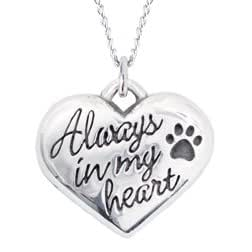 Sterling Silver Pet Memorial Necklace - Always In My Heart
