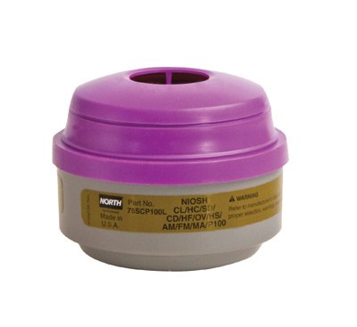 North(R) Organic Vapor, Ammonia, Methylamine, Formaldehyde And Acid Gas Cartridge For 5400, 5500, 7400 And 7500 Series Air Purifying Respirator (APR) With P100 particulate Filter. Sold by 1 / PK
