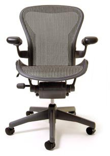 Aeron Chair - Basic by Herman Miller - Graphite Frame - Pyrite Classic Size C (Large)