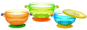 麦肯齐Munchkin 3 Count Stay Put Suction Bowl婴儿零食带盖小碗3只 $6.99