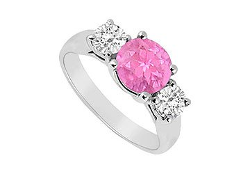 Sterling Silver Pink Sapphire and Cubic Zirconia Three Stone Ring 1.25 CT TGW MADE IN USA