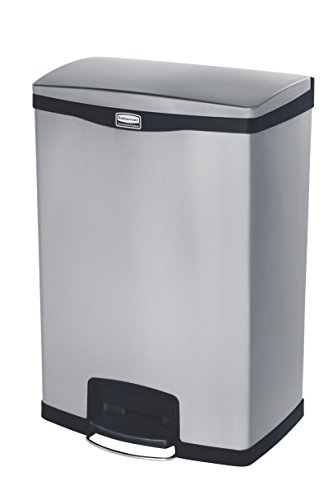 Rubbermaid Commercial Slim Jim Front Step-On Trash Can, Stainless Steel, 24 Gallon, Black (Stainless Steel Slim Trash Can compare prices)