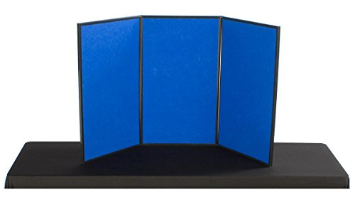 Displays2go 3-Panel Table Presentation Board, 54 x 30 Inches, Blue Velcro Fabric and White (3PV5430BLU) (Portable Display Case compare prices)