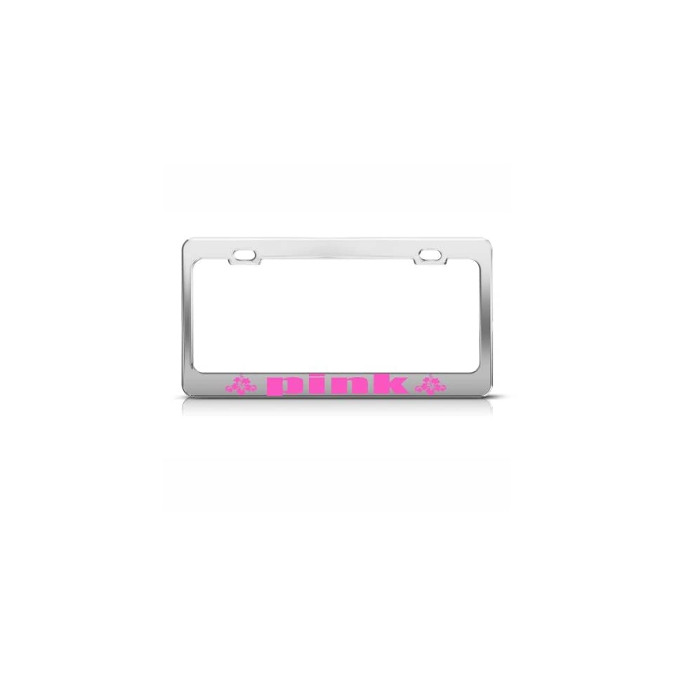 Pink Hibiscus Flower Flowers License Plate Frame Stainless Metal Tag