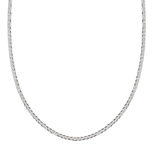 14k White Gold .7mm Diamond Cut Wheat Chain Necklace, 18""