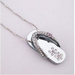 High Quality 8 GB Slipper Shape Crystal Jewelry USB Flash Memory Drive Necklace(Silver) by T &  J