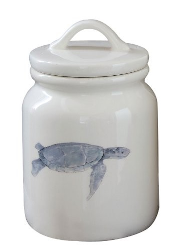 Creative Co-Op Dolomite Canister With Sea Turtle Image And Lid, 6.5-Inch