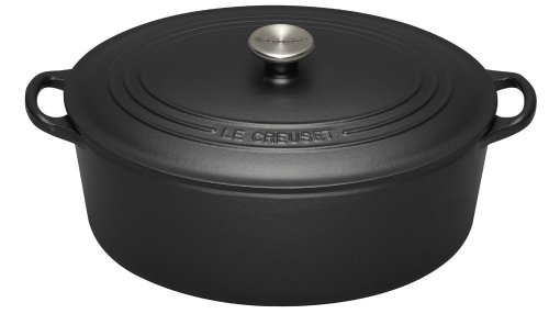 Le Creuset Cast Iron Oval Casserole, Satin Black, 35 cm
