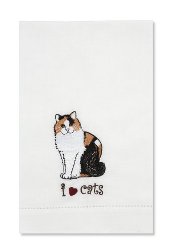 Rescue Me Now Calico Cat Tea Towel, 11 By 7-Inch, Embroidered front-278470