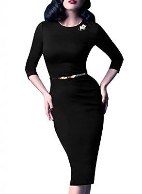VfEmage Women's Elegant Tunic Wear To Work Business Casual Pencil Sheath Dress
