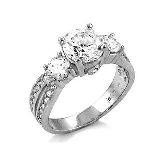 Sadie's Three Stone Sterling Silver CZ Anniversary Ring - 8