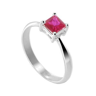Sterling Silver Princess Cut Ruby Cubic Zirconia Solitaire Promise Ring Size 10