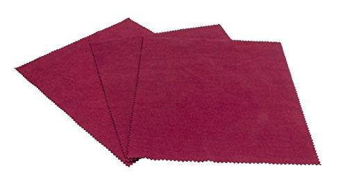 Edison&King - Panno per pulizia occhiali in diversi colori con taglio a zig zag, in microfibra, qualità premium, adatto anche per display, confezione da 3 pezzi - rosso