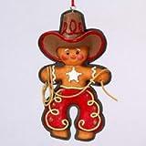 "5"" FLATBACK RESIN GINGERBREAD COWBOY ORNAMENT - Christmas Ornament"