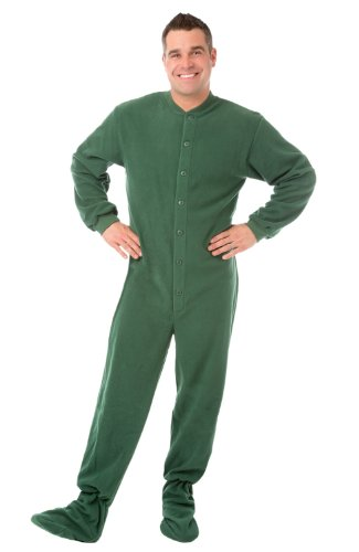 Big Feet Pjs Green (204) Micro-Polar Fleece Adult Footed Pajamas No Drop Seat (L) front-476592