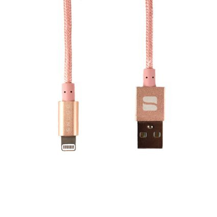 Lightning Cable, Snugg - Apple iPhone Charger [MFi Certified] Nylon Braided USB Cord [1m - 3.3ft] for iPad / iPod / iPhone 7 / 6 / 6s / 5 / 5s / 5c / SE Charging Wire - Rose Gold (Iphone 5 Charger Colored compare prices)