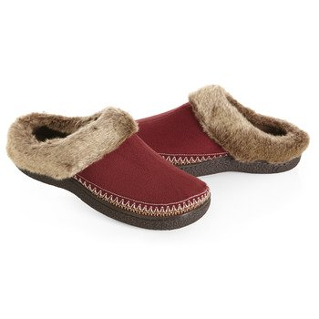 ISOTONER Women's Woodlands Microsuede Fur Crepe Clog Slippers, Chili 9.5/10