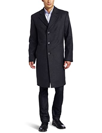 Michael Kors Men's Madison Top Coat, Charcoal, 40 Regular