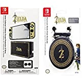 PDP Nintendo Switch Premium Zelda Breath of the Wild Chat Earbuds, 500-021 with Bonus Screen Protection & Skins Bundle (Color: Black/Gold)