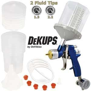DeVILBISS FinishLine 4 HVLP Spray Gun with both 1.3 mm and 2.2 mm Tips, DeKUPS Starter Kit with 24 oz. Cups, and a Air Valve Regulator with Gauge