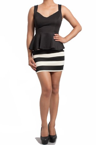 Symphony Black & White Striped Peplum Dress