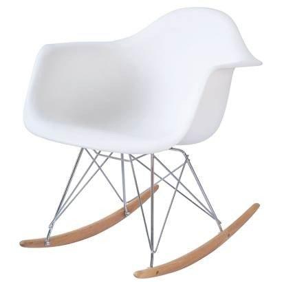 White Eames Style RAR Rocking Lounge Retro Rocker Chair
