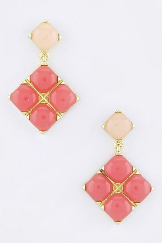 Karmas Canvas Acrylic Squared Earrings (Pink) front-1030040