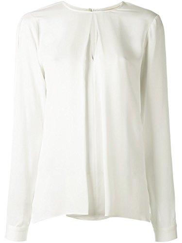 Michael Kors Blouse Plissettato manica lunga seta Bianco crema