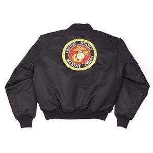 Black MA1 Marine Emblem MA-1 Flight Jacket
