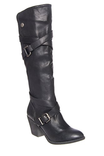 Snaps Mid Heel Tall Boot