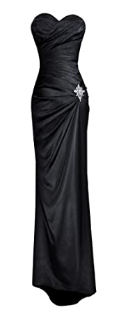 Strapless Long Satin Bandage Gown Bridesmaid Dress Prom Formal Crystal Pin, XS, Black