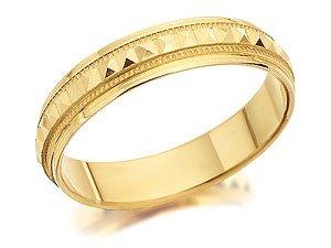 9ct Gold Pyramid Design Beaded Edge Brides Wedding Ring - 4mm - R