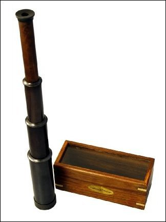 """15"""" Hand Held Antique Black Finish Brass Telescope With Wood Box - Nautical Captain"""