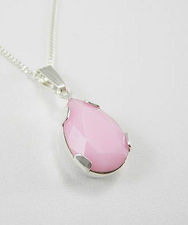 Lj Designs Pink Alabaster Tear Pendant - Gold Finish - Swarovski Crystal