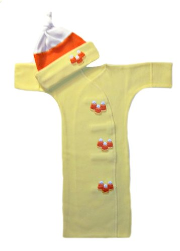 Candy Corn Baby Bunting Gown and Hat Set