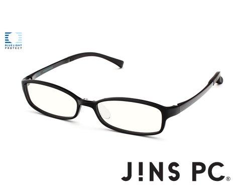 【JINS PC スクエア クリアレンズ】PC(ディスプレイ)専用メガネ (度なし) (BLACK)