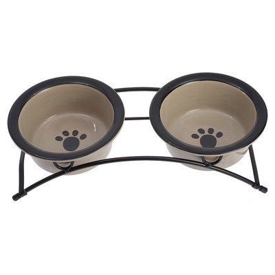 Petrageous Designs Buddy's Best Pet Feeder, Taupe