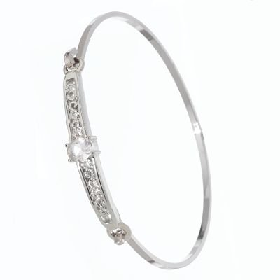 Elegant Bangle Bracelet Platinum Silver Finish