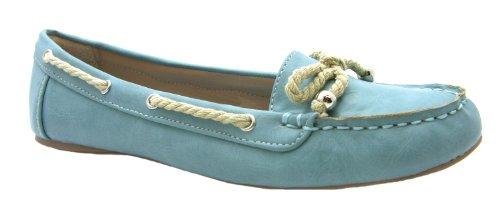 Women's Rope Natrelle Blue Slip On Boat Style Ballerina Shoes