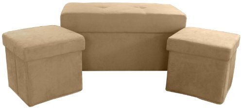Epic Furnishings 3-Piece Foldable Storage Ottoman/Table and Bench Set, Suede Khaki