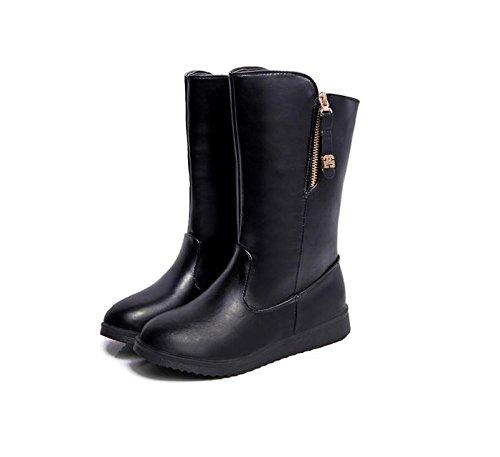 Slittamento di stivali donne piatte Europa per mantenere caldo in inverno neve stivali lato cerniera avvio , black , 35