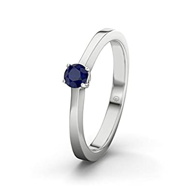 21DIAMONDS Women's Ring Ottawa Blue Sapphire Diamond Engagement Ring - Silver Engagement Ring